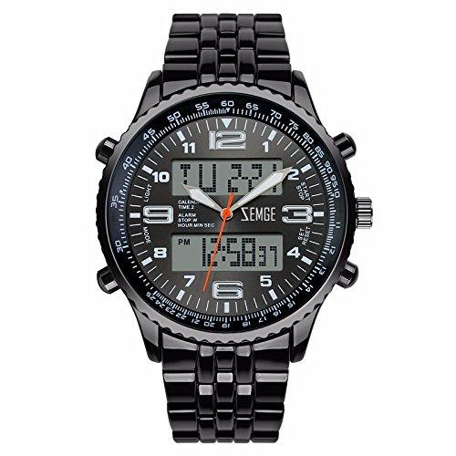 ZEMGE Hombres Reloj De Cuarzo AnalóGico Cronógrafo Fecha Digital deportes Unisex Business impermeable negro multifunción de diseño clásico tono DW Boss ZS0601