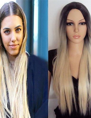 Perruque & xzl Perruques Fashion la nouvelle Europe et les États-Unis vente chaude couleur mélangée 1 b / 27 longues perruques synthétiques de cheveux raides