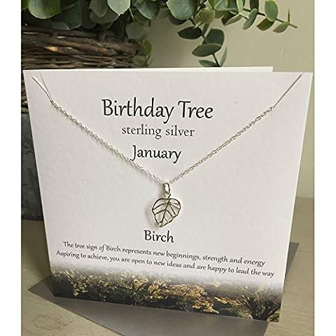 Compleanno in argento Sterling collana albero ----- Gennaio ----- Betulla presentato Effectz Sterling