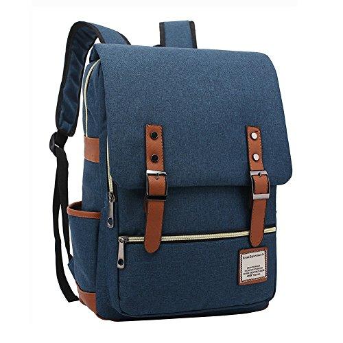 VRIKOO Casual Oxford Fabric Unisex Backpack Rucksack Lightweight College Student Laptop Bag Travel Hiking Daypack (Dunkelblau) -