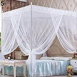 Bluelans® Baldachin Moskitonetz InsektenschutzFliegennetz Mückennetz für Doppelbetten und Einzelbetten (180*200cm, Weiß)