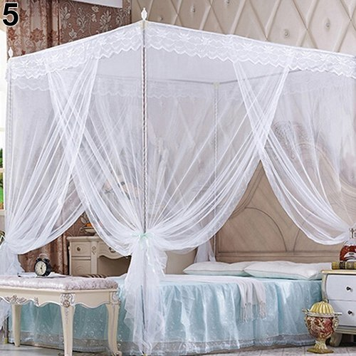 Bluelans® Baldachin Moskitonetz InsektenschutzFliegennetz Mückennetz für Doppelbetten und Einzelbetten (150*200cm, Weiß) - 4 Poster Queen-bett