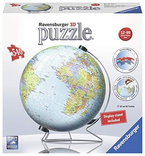 Ravensburger, puzzle 3D da 540 pezzi a forma di mappamondo, con supporto a V