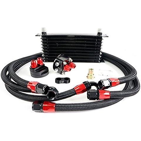 Speedmotor JDM 10fila universale Olio Motore Cooler delocalizzazione Adattatore tubo in acciaio, colore: nero