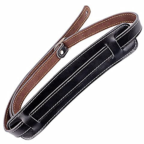 Mugig Guitar Strap Adjustable Real Leather , with a Shoulder Pad for Bass & Guitar- 2.2