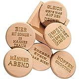 Spruchreif PREMIUM QUALITÄT 100% EMOTIONAL Bierdeckel mit Männersprüchen aus hochwertigem Buchenholz · 2in1 Untersetzer und Deckel · 6er Set Glasabdecker inklusive Holz-Ständer · Männer Geschenk
