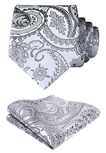 HISDERN Extra lange Blumen Paisley Krawatte Taschentuch Herren Krawatte & Einstecktuch Set Grau