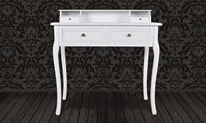 Coiffeuse table de maquillage blanche en pin - 4 tiroirs démontable - 87 x 42 x 99 cm