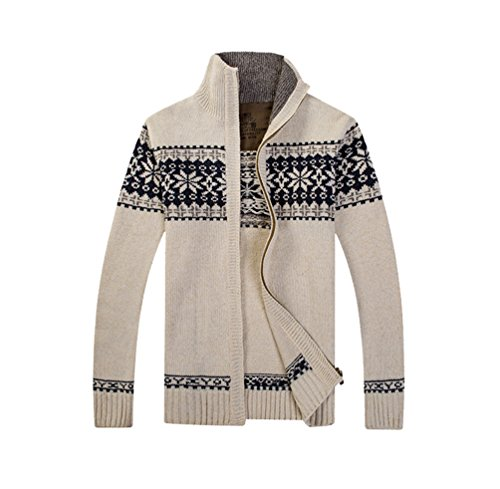 ZKOO Strickjacke Herren Geometrisches Drucken Stricken Cardigan Jacke Strickpullover Pulli mit Reißverschluss Warm Strickwaren Herbst Winter (Stricken Wolle Strickjacke)