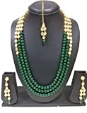 CATALYST Green Pearl & Kundan Rani Necklace With Earings For Women
