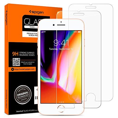 Spigen 2Pezzi Pellicola Vetro Temperato iPhone 8 Plus / 7 Plus, HD (0.33mm Premium Ver.) proteggischermo trasparente, Pellicola Prottetiva iPhone 8 Plus / 7 Plus, protezione per schermo (043GL20801)