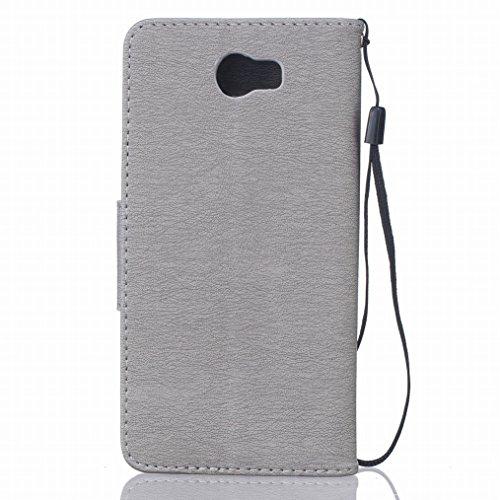 LEMORRY Huawei Y5 2 Custodia Pelle Cuoio Flip Portafoglio Borsa Sottile Fit Bumper Protettivo Magnetico Chiusura Standing Card Slot Morbido Silicone TPU Case Cover Custodia per Huawei Y5 2 (Huawei Y5I grigio