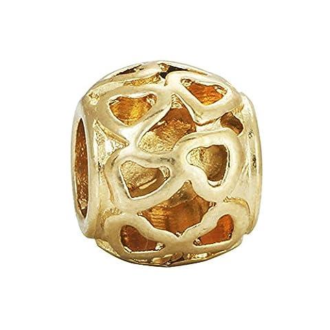 Bling étoiles d'or en filigrane Fleur Spacer Charms pour bracelet Pandora Charms Bracelet