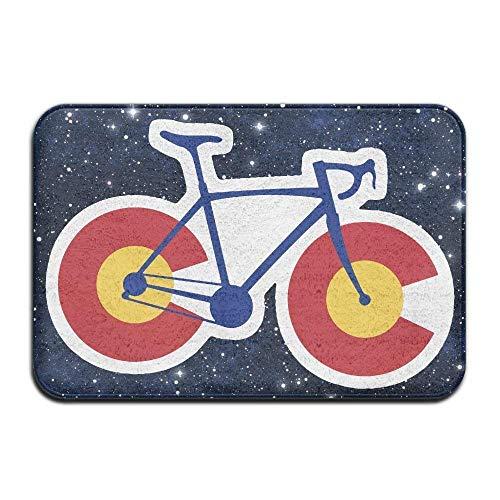arthur thomas Lustiges Colorado Flaggen Fahrrad, rutschfeste Innen/Außen/Haustür/Badezimmereingangsmatten Teppiche aus lustigem Polyester -