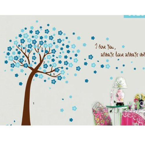 Grande 149,9x 119,4cm Blu Sakura Fiore Albero di ciliegio Quote I love you Adesivo da parete adesivi parete in pvc, rimovibile in vinile