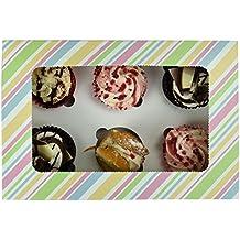 Professional Six cupcake display confezione scatola acetata finestra rimovibile torta del piatto, assemblaggio, Multi, Coppia