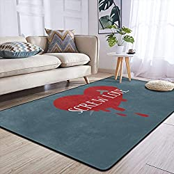 Heteyys Funny Anti-Valentine Screw Love Indoor Floor Mat Living Room Household Carpet Children Play Mat Rectangle Carpet 84x60 in,Black,One Size