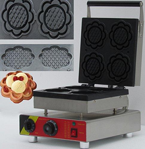 Hanchen NP-508 Waffelbackmaschine für gewerbliche Waffeleisen, elektrisch, ohne Stick, belgischer Waffelbäcker, 110 V/220 V (Blume)