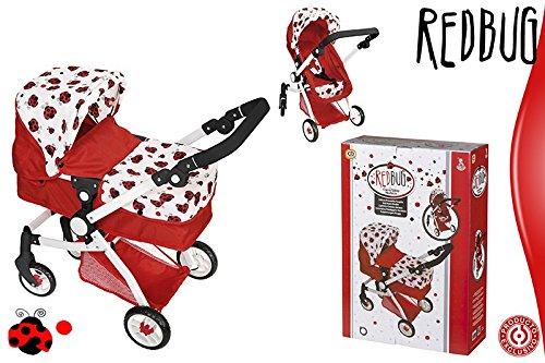 ColorBaby - Carrito de paseo convertible en sillita, color rojo con mariquitas (43114)