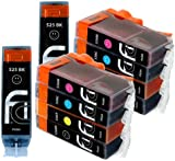 10 Canon Compatible CLI526, PGI525, Printing Ink Cartridges - NEW WITH CHIP INSTALLED NO FUSS - Multipack Set of 10 Canon Compatible Printer Ink Cartridges for CANON PIXMA iP4850, iP4950, MG5150, MG5250, MG5350, MG6150, MG6220, MG6250, MG8150, MG8220, MG8250, MX715, MX885, IX6550 Printer Inks PGI 525BK, CLI 526Y, CLI 526M, CLI 526C, CLI 526BK,) High Capacity Inks