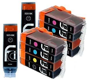10 Canon Pixma Compatible CLI526, PGI525, Cartouche d'encre pour iP4850, iP4950, MG5150, MG5250, MG5350, MG6150, MG6220, MG6250, MG8150, MG8220, MG8250, MX885, IX6550 x2 PGI 525BK, x2 CLI 526Y, x2 CLI 526M, x2 CLI 526C, x2 CLI 526BK,