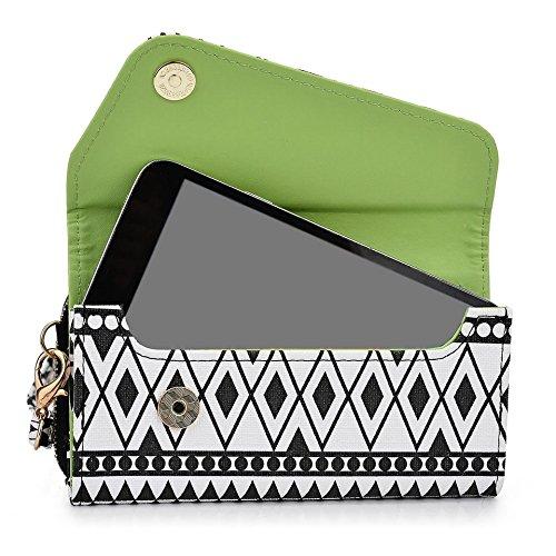 Kroo Housse de transport Dragonne Étui portefeuille pour Samsung Galaxy Core 2/Win/Alpha Black Houndstooth and Black Noir/blanc