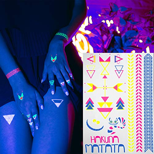 AKTIIV® Klebe- Tattoos | Hakuna Matata Kit mit 5 x DIN-A5 Bogen Wasserfeste Temporary Tattoos | Neon Body & Face Painting Aufkleber für die Haut | Accessoire für Schwarzlicht UV Party & Festivals