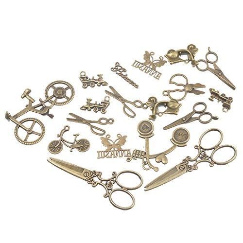 Souarts Mixte Ciseaux Velo etc Pendentifs Breloques DIY Bijoux Accessoires Bronze Lot 50PCS