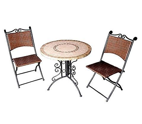 Salon de jardin 2 chaises pliantes + 1 table, ensemble