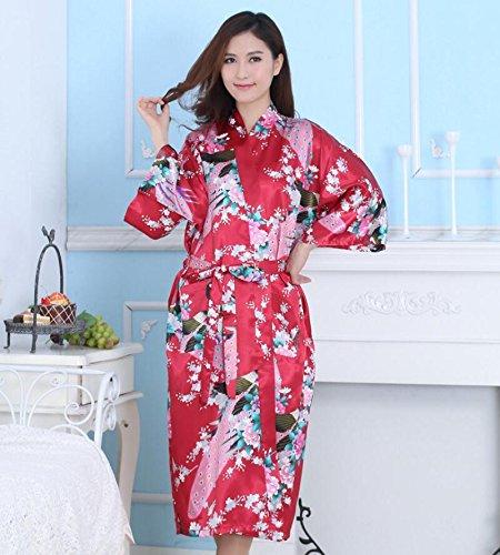 LJ&L Damen Sommer Robe Simulation Seide Kimono Komfort Bad Kleider atmungsaktive kurze Punkt Mode silky Robe Pyjamas,red,XXL (Punkt-kragen-weiß-boden)
