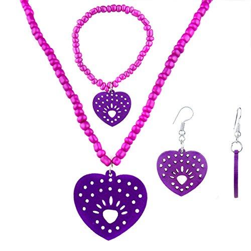 Little Girl Purple Heart Jewelry Set-Collana, bracciale e orecchini