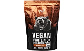 nu3 - Protéines Vegan 3K | 1kg | Poudre Chocolat | 70% de protéines à base de 3 composants végétaux | Protéines destinées à la prise de masse musculaire avec une délicieuse saveur chocolat