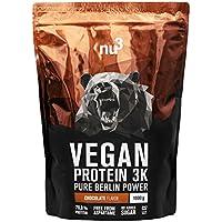 nu3 - Protéines Vegan 3K | 1kg | Chocolat | 71% de protéines à base de 3 composants végétaux | Protéine végétale destinée à la prise de masse musculaire | Excellente alternative à la whey protein
