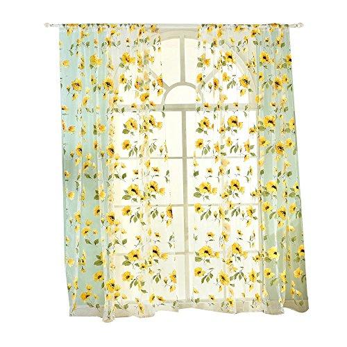 NACHEN Fresh Floral Print TulleDoor Fenster Zimmer Vorhang Drapieren Panel Blackout Vorhänge, Yellow, 100 * 200cm
