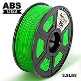 Filamento impresora 3D Enotepad ABS, filamento ABS 1.75 mm 1 kg, precisión dimensional 1.75 ± 0.02 mm, impresoras 3D ABS verde