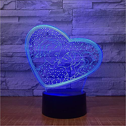 Ytdzsw Ich Liebe Dich Süße Liebhaber Herz 3D Led Usb Lampe Romantische Dekorative Bunte Nacht Licht Freundin Muttertag Geschenk