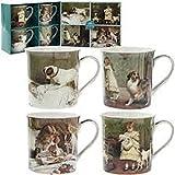 Leonardo Charles Burton Barber artista set di 4tazze in porcellana, in confezione regalo