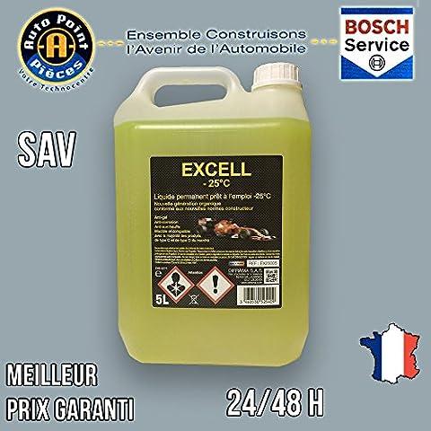 EXCELL Liquide de refroidissement jaune permanent prêt à l'emploi -25°C 5L
