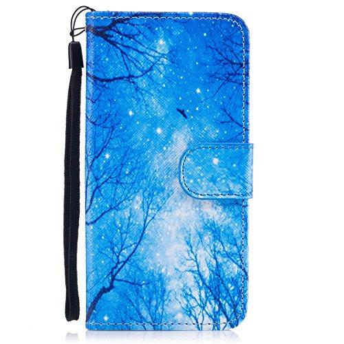 iPhone 7 Custodia, SainCat Custodia in Pelle Cover per iPhone 7, Anti-Scratch Protettiva Caso Elegante Creativa Dipinto Pattern Design PU Leather Flip Portafoglio Custodia Libro Protettiva Custodia a  blue Star