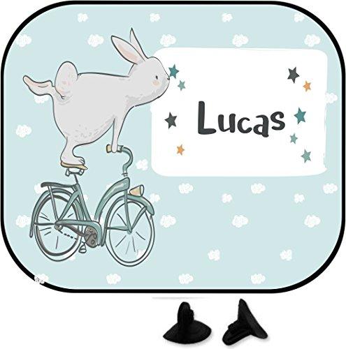 wolga-kreativ Hase Fahrrad mit Name Auto SonnenSchutz und SonnenBlende für Baby und Kind personalisiert Wunschname (Doppepack)