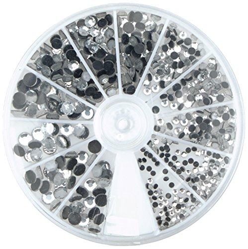 Rayher 15130801 Hotfix Strasssteine aus Glas, 2-5 mm ø gemischt, Farbe bergkristall, Box 580 St, Glas-Strasssteine, Schmucksteine zum Aufbügeln (Schnelle Nieten Große)