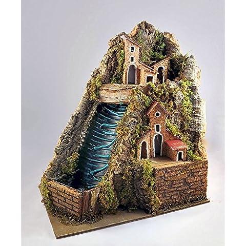 Pastori e Presepi - Cascata in sughero con paesaggio e riciclo acqua 20 cm x 23,5 cm - Presepemania - Plastica Terra Cotta