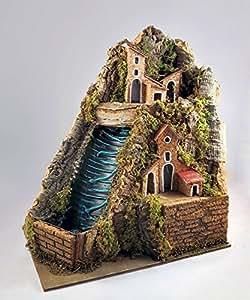 Pastori e Presepi - Cascata in sughero con paesaggio e riciclo acqua 20 cm x 23,5 cm - Presepemania