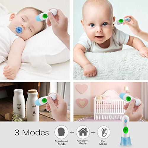 YUKICARE Termómetro de oído y frente Modos de medición 4 en 1 profesionales, el auténtico CE y el termómetro infrarrojo digital médico aprobado por la FDA para bebés y adultos advertencia de fiebre.(Baterias incluidas)
