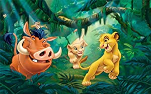 Vinyl Birthday Backdrop Tropical 7x5ft Forest Lion King
