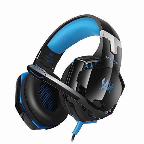 Gaming Headset, KOTION EACH GS600 PC Gaming Headset Over-Ear Stereo Headphones with Microphone for XBOX 360 / PS3 / PS4 / PC Computer Laptop / Mobile Phones, Noise Cancelling & Volume Control (GS600 - Blue)