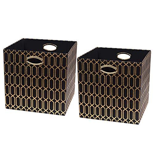 Posprica Aufbewahrungsbehälter - Faltbare Körbe, Aufbewahrungsboxen, Schubladen, Geometrisches Muster, Schwarz, 13''/2pcs -