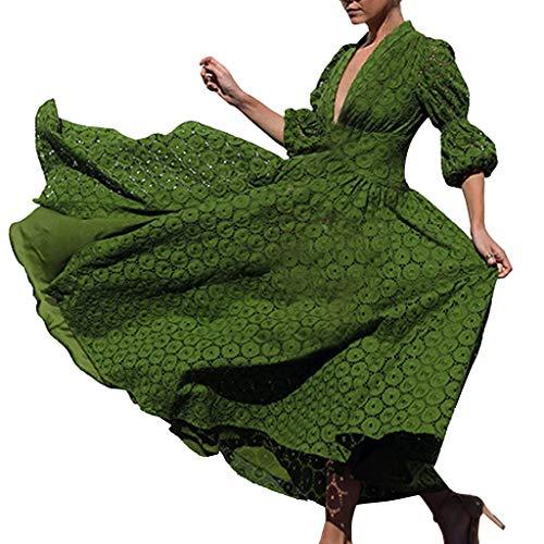 LSAltd Frauen Arbeiten reizvolles tiefes V-Ansatz Blumenspitze-Partei-Schwingen-langes Kleid-Elegantes Normallack-Hauch-halbes Hülsen-Maxi Kleid um