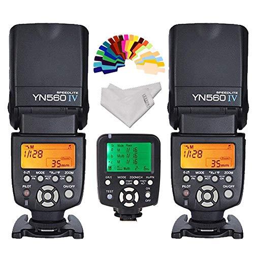 Yongnuo YN-560IV 2PCS Wireless Flash Speedlite kit + YN560-TX LCD Flash Trigger Remote Controller For Nikon DLSR Cameras+Inseesi clean cloth+20 Color Filter - Nikon D3200 Für Flash-kit