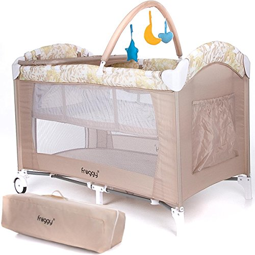 Froggy® Baby bed travel cot furniture cribs portable child bed with toys entryway 0-36 months Beige